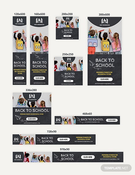 Back To School Web Banner Ads Download