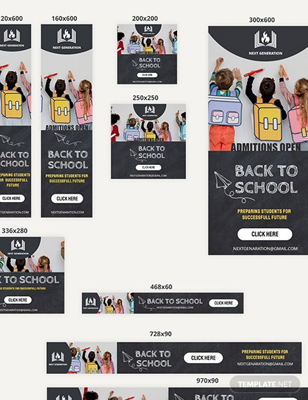 Sample Back To School Web Banner Ads