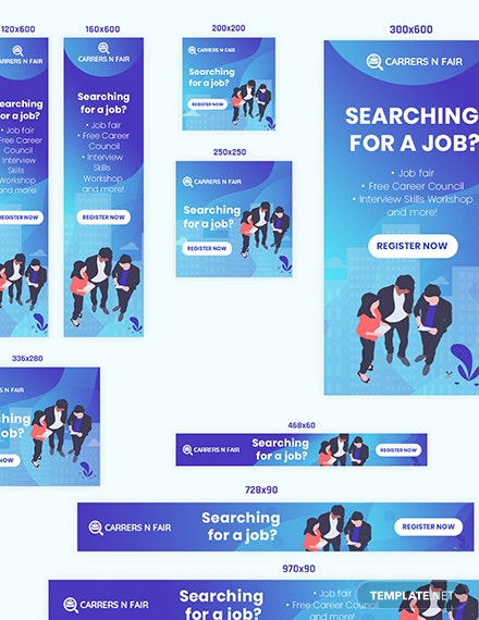 Sample Job Searching Web Banner Ads