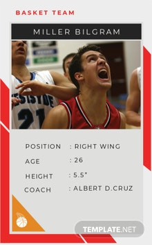 Free Basketball Team Trading Card Template