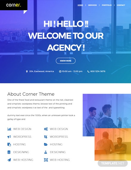Free Corner Theme Website Template
