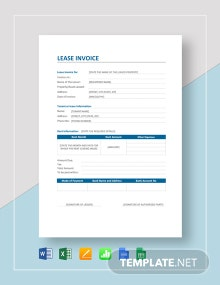Lease Invoice Template