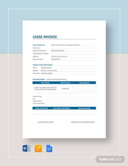 Lease Invoice Template