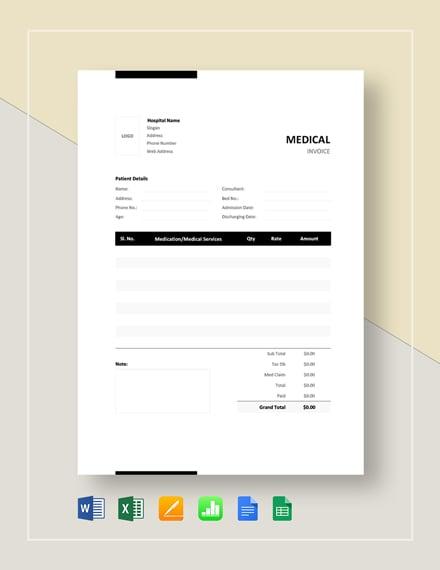 medical bill format