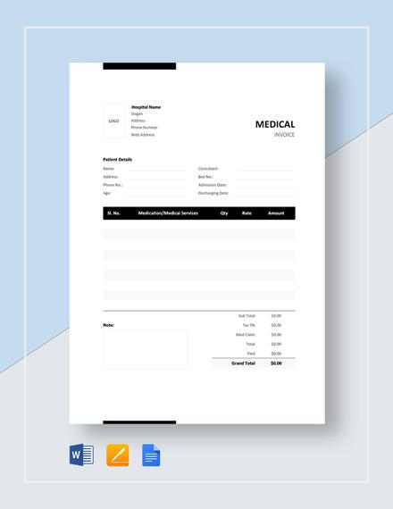 Medical Bill Format Template