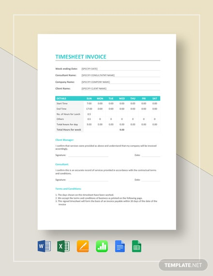 Sample Timesheet Invoice Template