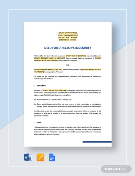 Directors Indemnity Deed Template