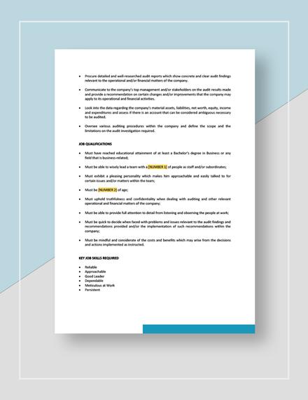Auditor Job Description Template