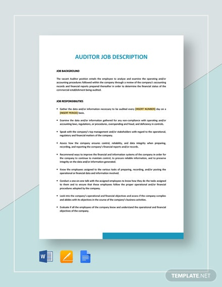 Auditor Job Description Template