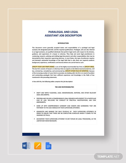 Paralegal And Legal Assistant Job Description Template