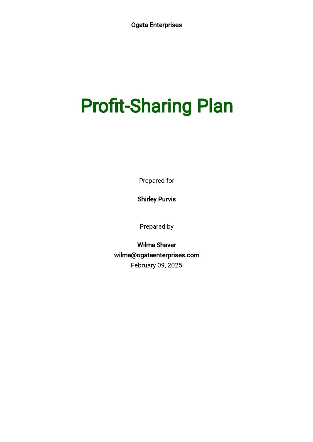 Profit Sharing Plan Template