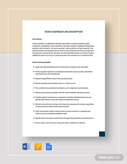 Team Assembler Job Description Template