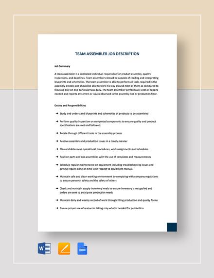 Team Assembler Job Description Template