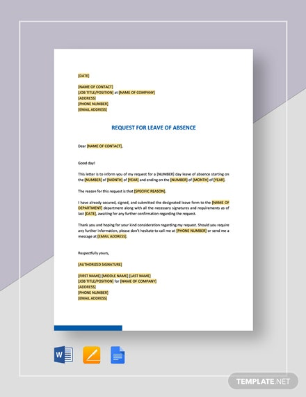 Request For Leave Of Absence Template
