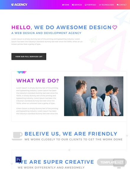 Free Agency Website Template