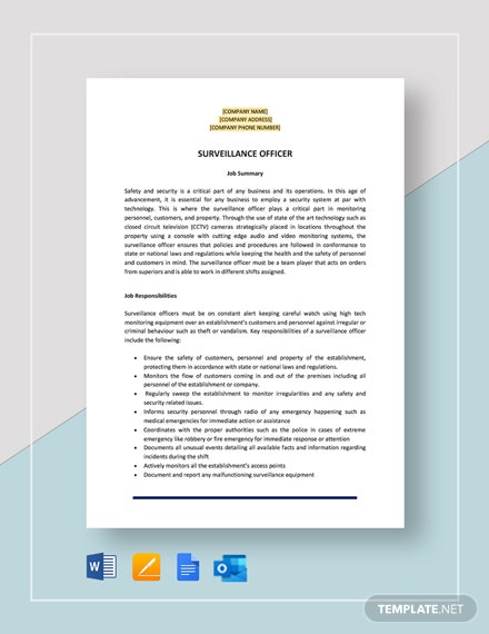 Surveillance Officer Job Description Template