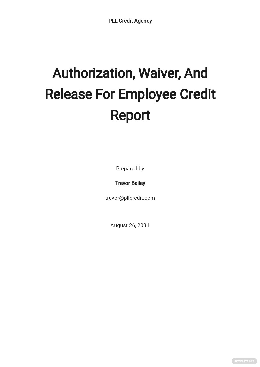 Authorization, Waiver, And Release For Employee Credit Report Template [Free PDF] - Google Docs, Word