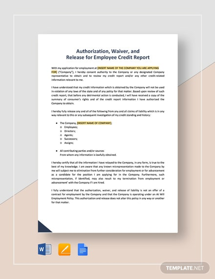 Authorization, Waiver, And Release For Employee Credit Report Template