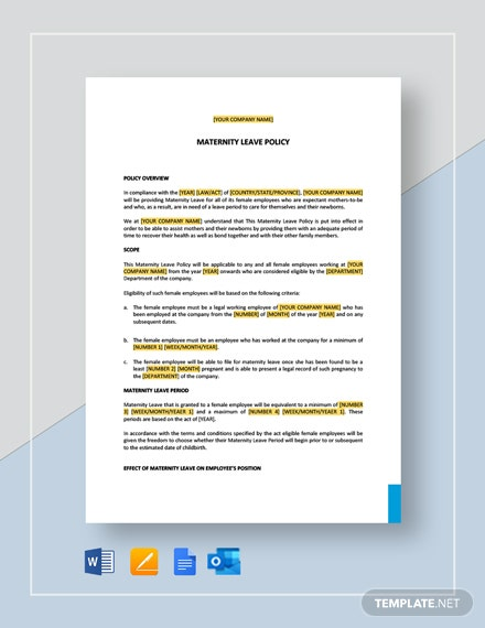 Maternity/Pregnancy Leave Policy Template