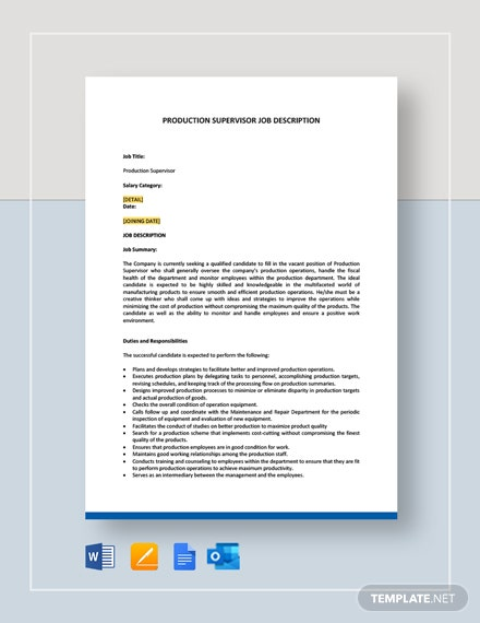 Production Supervisor Job Description Template