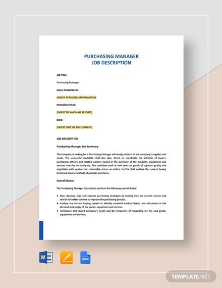 Purchasing Manager Job Description Template