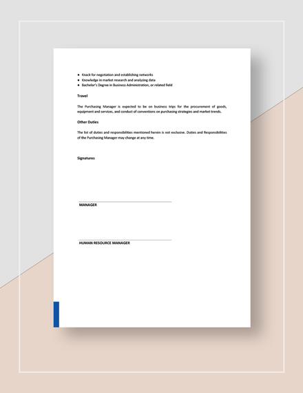 Purchasing Manager Job Description Download