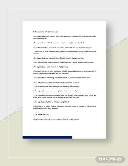 Treasurer And Controller Job Description Template