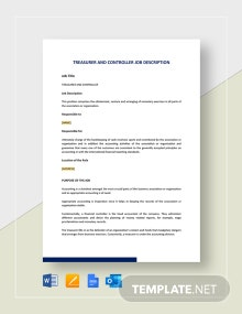 Treasurer And Controller Job Description Template