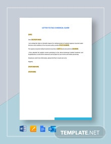 Letter To File A Medical Claim Template
