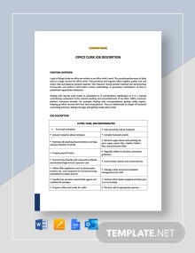 Office Clerk General Job Description Template