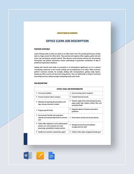 office clerk general job description