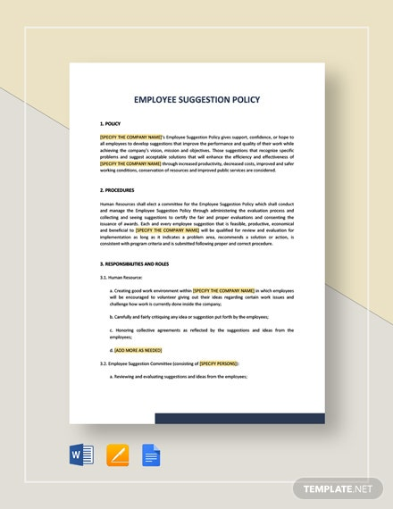 Employee Suggestion Policy Template