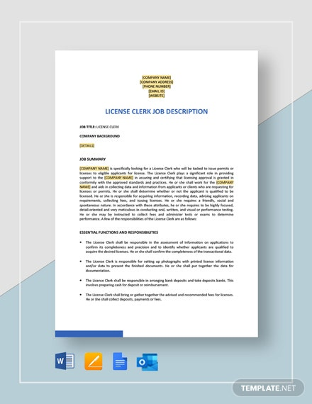License Clerk Job Description Template