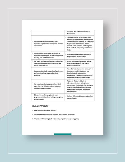 Sales Manager Job Description Download