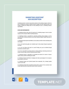 Marketing Assistant Job Description Template