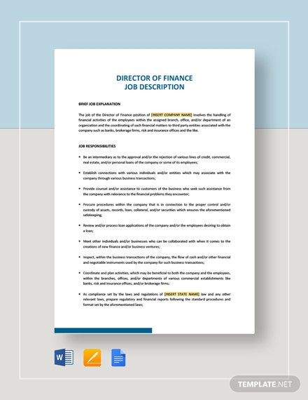 Director Of Finance Job Description Template