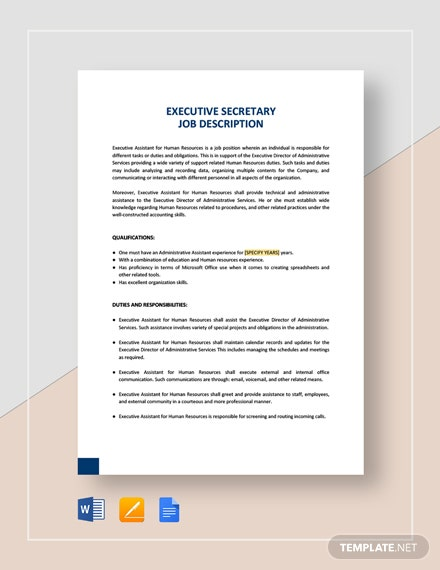 Executive Secretary Job Description Template