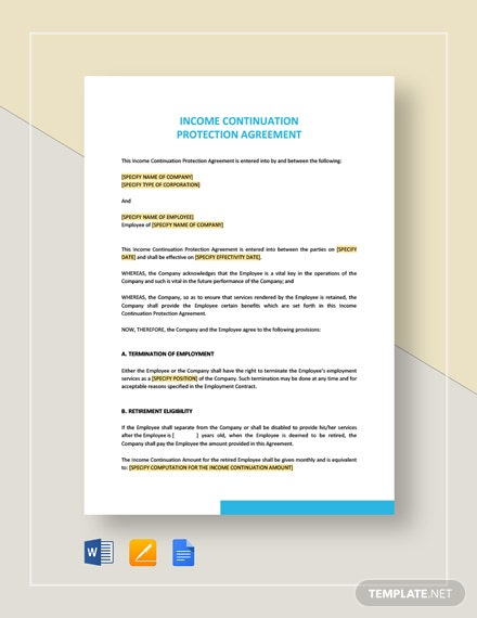 Income Continuation Protection Agreement Template