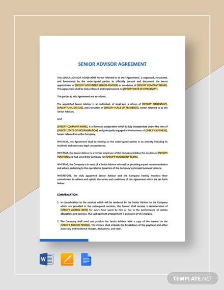 Senior Advisor Agreement Template