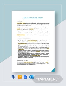 Drug And Alcohol Policy Template