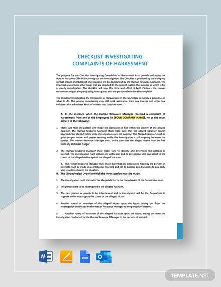 Checklist Investigating Complaints of Harassment Template