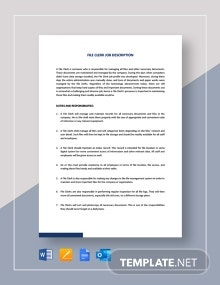 File Clerk Job Description Template