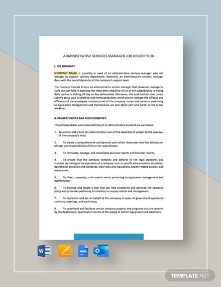 Administrative Services Manager Job Description Template