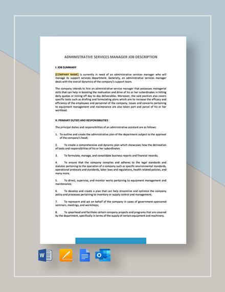 Administrative Services Manager Job Description Template