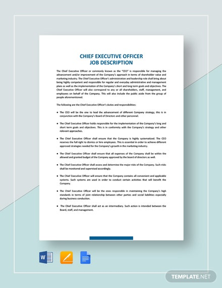 Chief Executive Officer Job Description Template