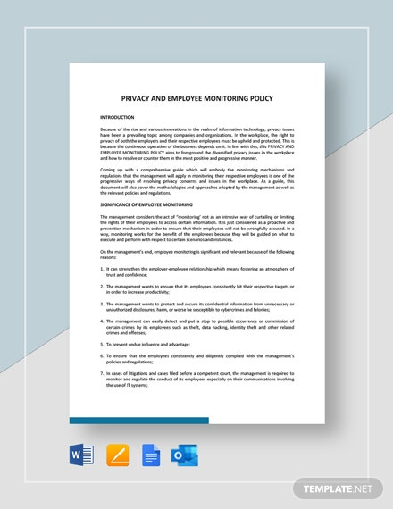Privacy And Employee Monitoring Policy Template