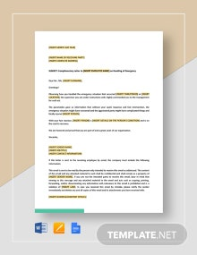 Complimentary Letter To Employee On Handling Of Emergency Template