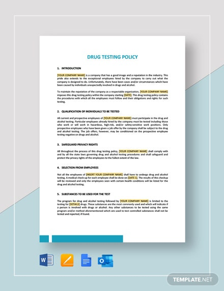 Drug Testing Policy Template