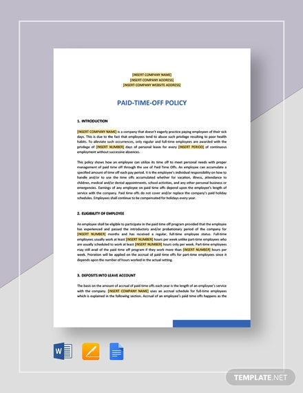Paid-Time-Off Policy Template