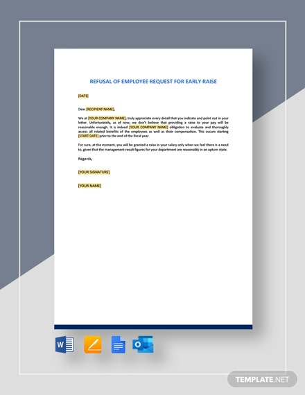 Refusal Of Employee Request For Early Raise Template